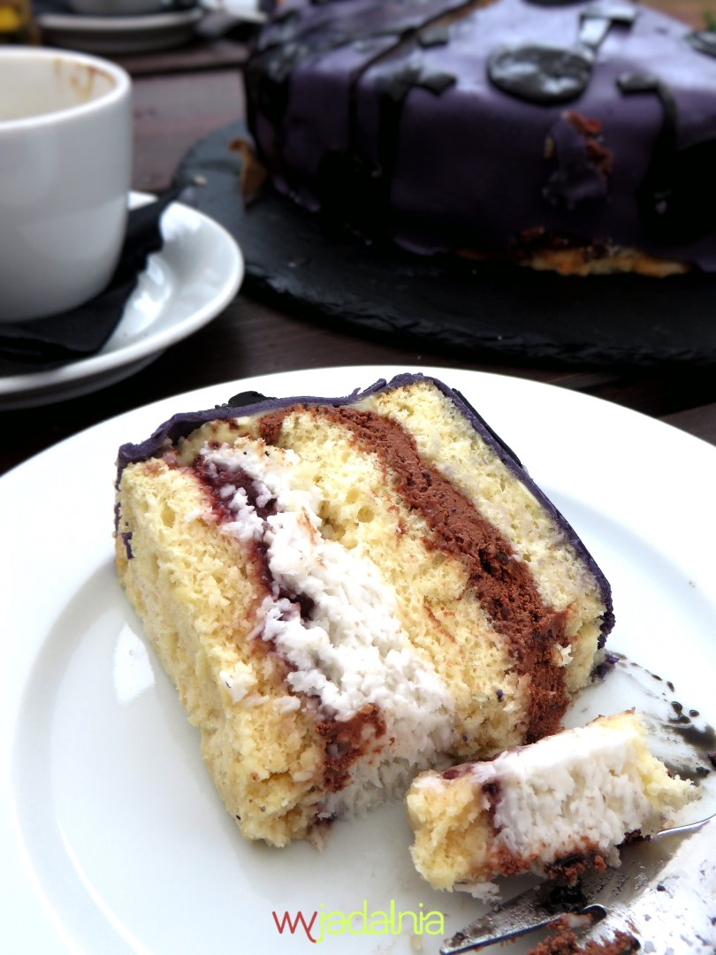 Tort kokosowy z musem czekoladowym i malinami 6